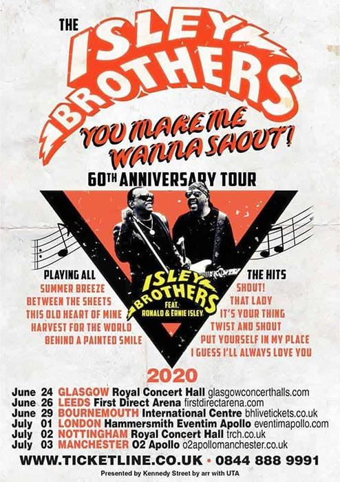 The Isley Brothers at Hammersmith Apollo on Wed 1st July 2020 Flyer