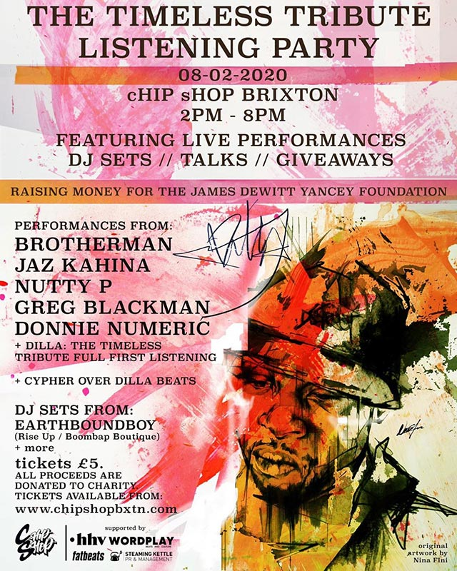 Dilla: The Timeless Tribute Listening Party at Chip Shop BXTN on Sat 8th February 2020 Flyer