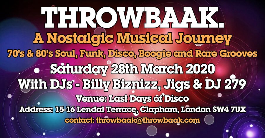 Throwbaak at Last Days of Disco on Sat 28th March 2020 Flyer