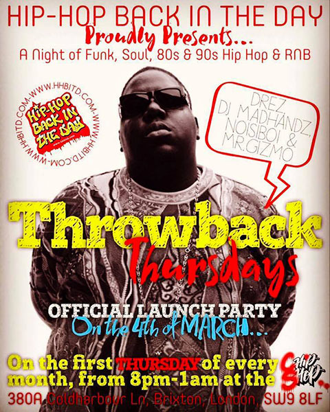 Throwback Thursdays at Chip Shop BXTN on Sat 4th March 2017 Flyer