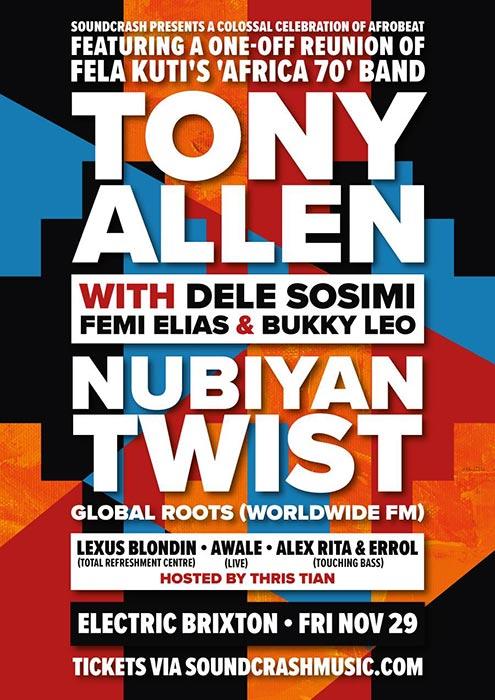 Tony Allen at Electric Brixton on Fri 29th November 2019 Flyer