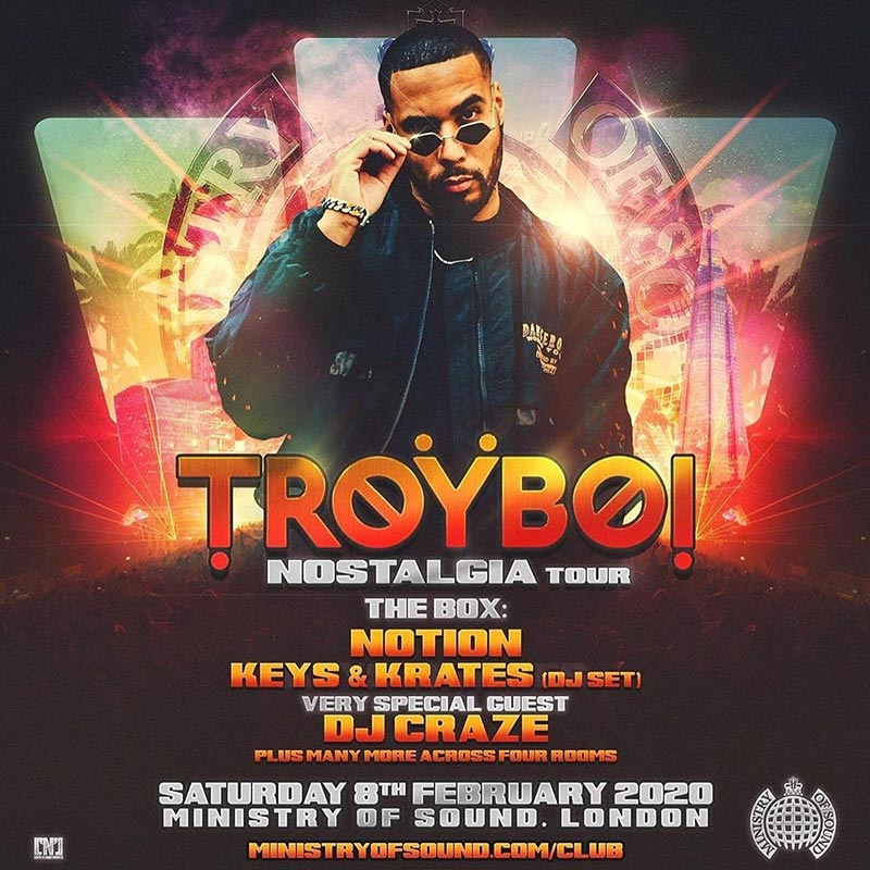 Troyboi at Ministry of Sound on Sat 8th February 2020 Flyer