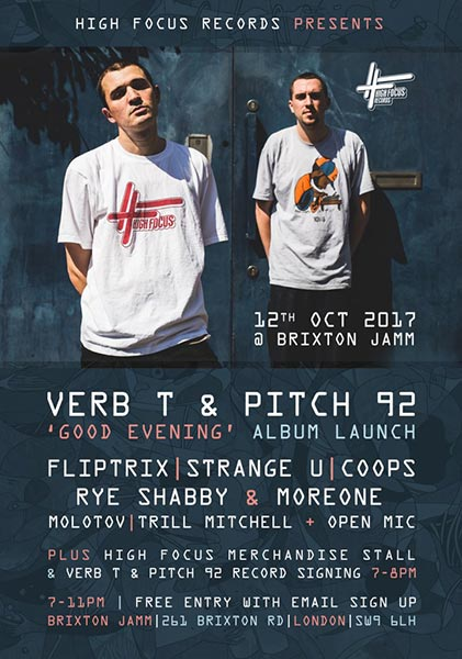 Verb T & Pitch 92  at Brixton Jamm on Thu 12th October 2017 Flyer