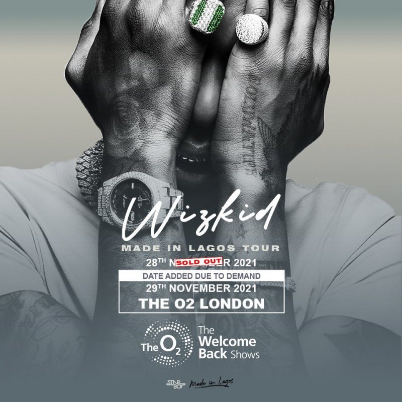 Wizkid at The o2 on Mon 29th November 2021 Flyer