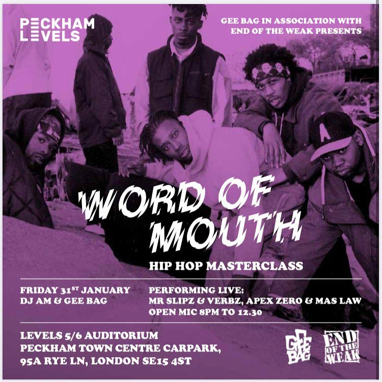 Word of Mouth at Peckham Levels on Fri 31st January 2020 Flyer
