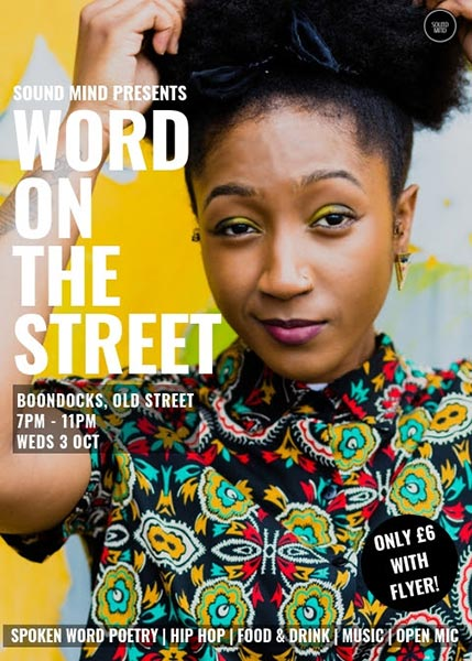 Word on the Street at Boondocks on Wed 3rd October 2018 Flyer