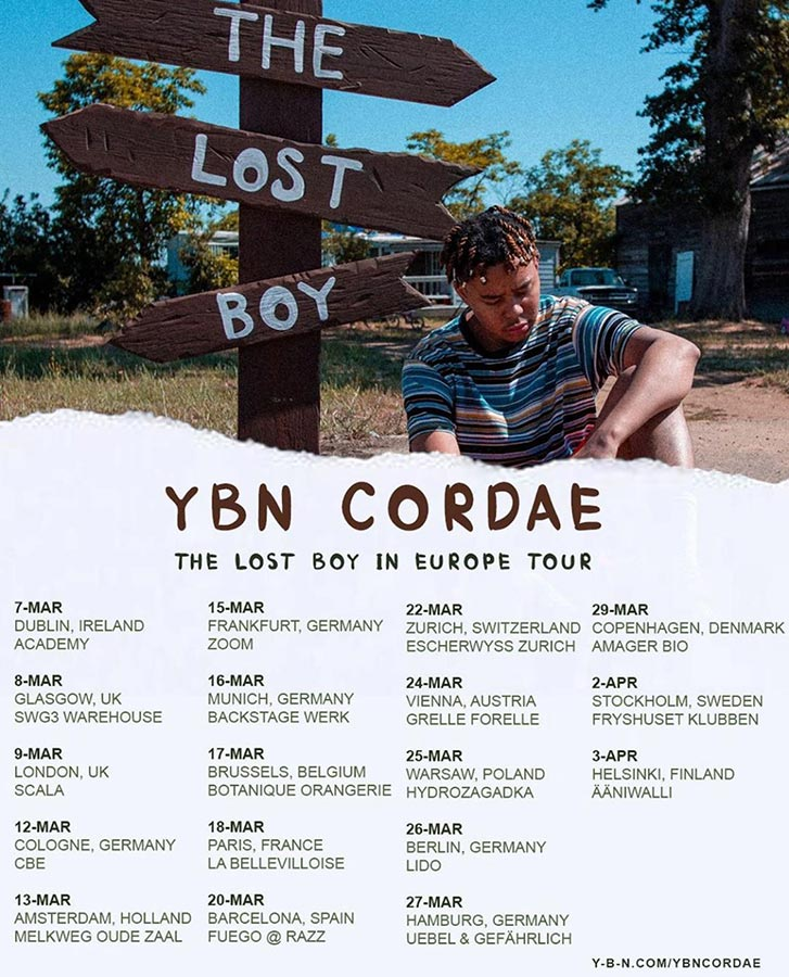 YBN Cordae at Scala on Mon 9th March 2020 Flyer